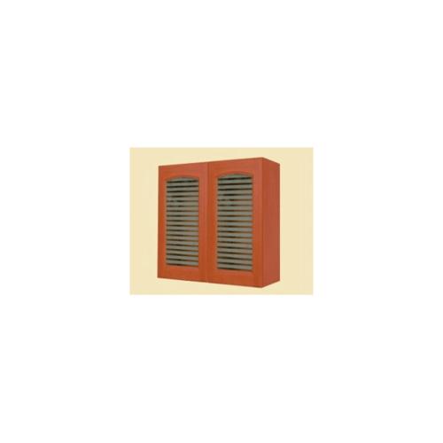 MJ ตู้แขวนบานกระจกโค้งใส  สีเชอร์รี่ W808GCL -CH
