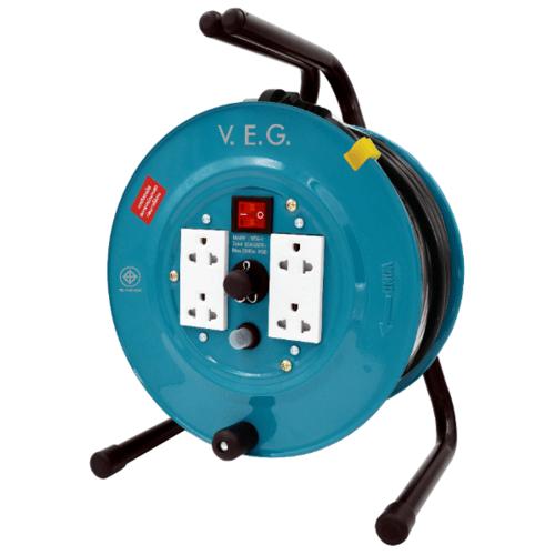 V.E.G.  ล้อเก็บสายไฟ 16A 3600W สายไฟยาว 20M VEG-1520  สีเขียว