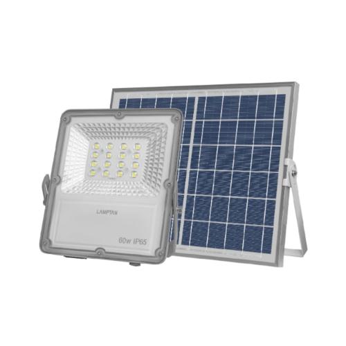 LAMPTAN โคมไฟฟลัดไลท์ โซล่าร์เซลล์ LED 60W แสงเดย์ไลท์  สมาร์ทเซ็นเซอร์ โซลิด + รีโมท IP65 สีเทา