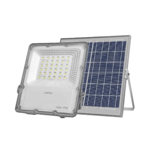 LAMPTAN โคมไฟฟลัดไลท์ โซล่าร์เซลล์ LED 100W แสงเดย์ไลท์  สมาร์ทเซ็นเซอร์ โซลิด + รีโมท IP65 สีเทา