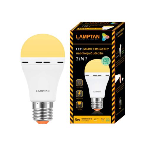 LAMPTAN หลอดไฟฉุกเฉิน LED อีเมอเจนซี่ BULB  6W แสงวอร์มไวท์ E27 สีขาว