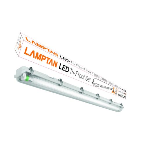 LAMPTAN LAMPTAN โคมกันน้ำกันฝุ่น LED พร้อมหลอดLED T8 1X18W แสงเดย์ไลท์ รุ่นขั้วเขียว  TRI PROOF สีขาว