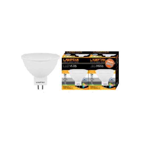 LAMPTAN หลอด LED MR16 5W 220V แสงวอร์มไวท์ แพ็คคู่ GU 5.3 MR16 5W. 220V. สีขาว