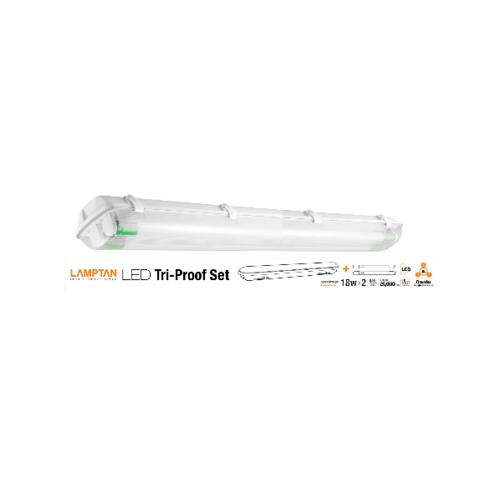 LAMPTAN โคมกันน้ำกันฝุ่น LED พร้อมหลอดLED T8 2X18W แสงเดย์ไลท์ รุ่นขั้วเขียว TRI PROOF สีขาว
