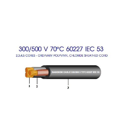 BCC สายไฟฟ้า 60227 IEC53 2x1.5 BK (C100)300/500V THW สีดำ