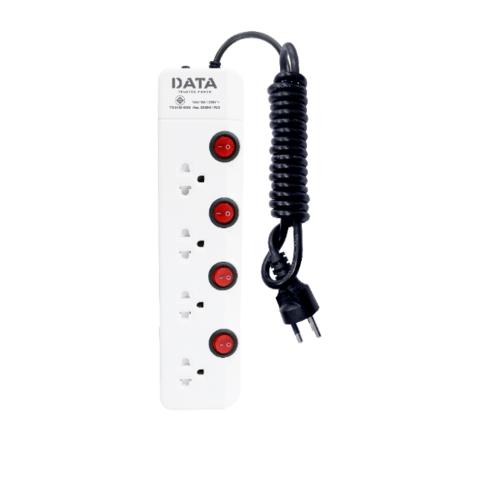 DATA รางปลั๊กไฟ มอก. 4 ช่อง4 สวิตซ์    3 เมตร สีขาว HM4496M3W สีขาว