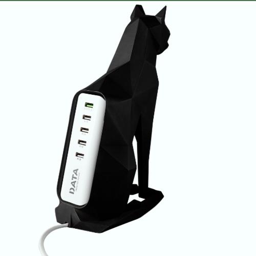 DATA แท่นวางปลั๊กเซรามิก USB 5 ช่อง 1.2m 5V/3A รูปแมว  THE CAT USB 5 ช่อง สีดำ