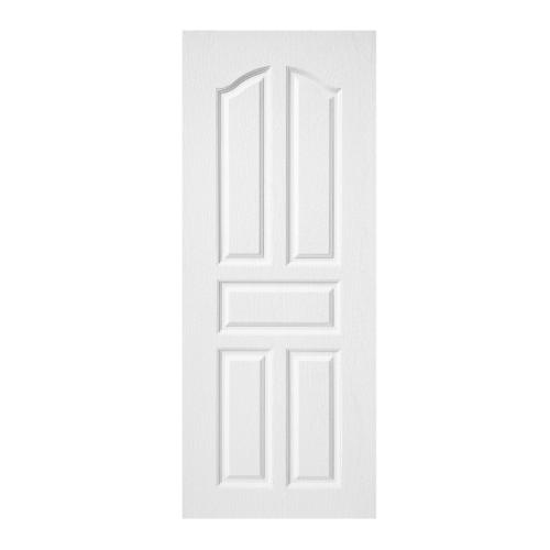 BWOOD ประตูยูพีวีซี บานทึบ 5 ฟักปีกนก (ผิว REVO) Eco series ขนาด80x200ซม.  (เจาะ) BENR001  สีขาว