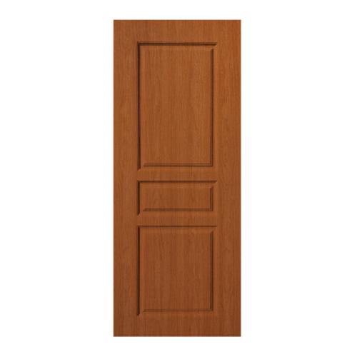 BWOOD  ประตู VINYL บานทึบลูกฟัก Eco series ขนาด 80x200ซม. ORANGE TEAK (เจาะ)  LBENR002 (REVO)