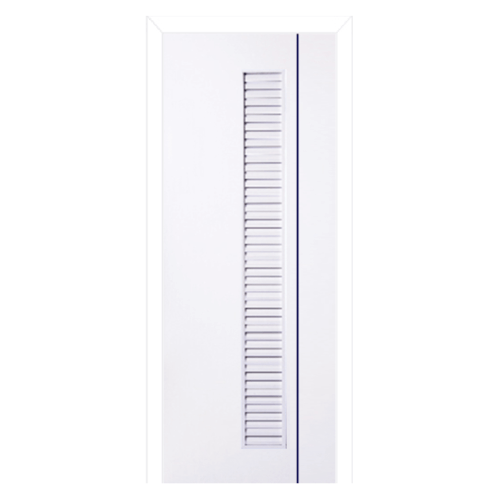 BWOOD ประตู PVC  ขนาด 70x200 เจาะ เซาะร่องเส้นน้ำเงิน+วงกบ Navy-Series BN3 สีขาว