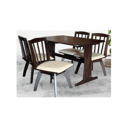 Delicato ชุดโต๊ะอาหาร4ที่นั่ง  VALERIE DE-4 สีน้ำตาลเข้ม