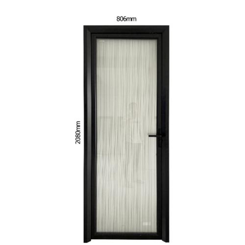 Wellingtan ชุดประตูอลูมิเนียม ลายกั้นหน้าขาว (เปิดขวา) ขนาด 80.6x208ซม.  ALD-BK006R สีดำ