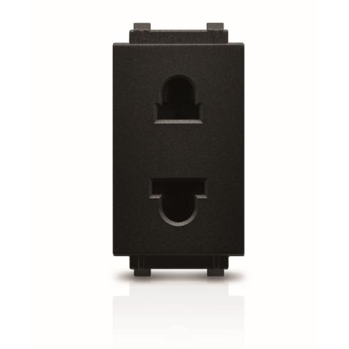 PHILIPS เต้ารับไฟฟ้าเดี่ยว 2 สาย มีม่านนิรภัย  leafstyle simplex 2p us-eu socket สีดำ