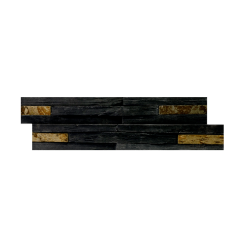 หินธรรมชาติ 15x60 หินกาบจิ๊กซอดำสนิมเปลือกไม้ NSD-GSE-013-1560