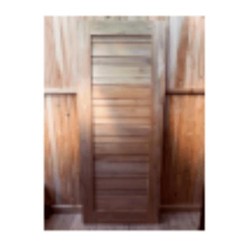 SJK ประตูไม้สัก บานทึบทำร่องขนาด 80x200cm.   SJK004