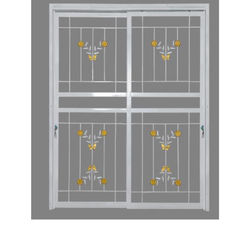 A-Plus ประตูเหล็กดัดลายดอกไม้จีน ขนาด1.60 x 2.05m.  D1001