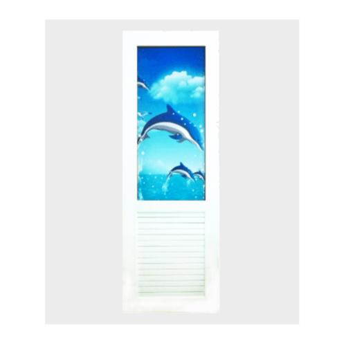 OK ประตู UPVC ติดภาพลายปลาโลมา พร้อมวงกบบัวใหญ่ 70cm.x200cm.  T-01 ไม่เจาะ สีขาว