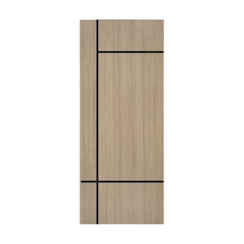 Vanachai ประตูเมลามีน เซาะร่องดำ 80cm.x200cm.  W ME4 Light Teaks