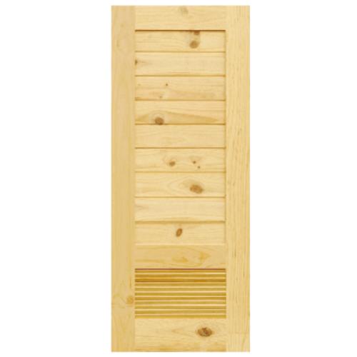 D2D ประตูไม้สนนิวซีแลนด์ ขนาด  80x200 cm. Eco Pine-043 สีน้ำตาลอ่อน