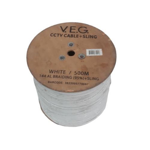 V.E.G สายกล้อง CCTV มีสลิง  ยาว 500 เมตร สีขาว