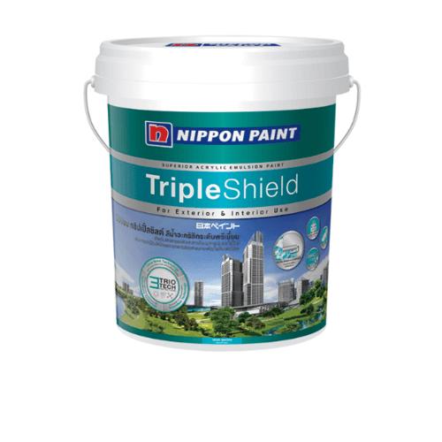 NIPPON สีน้ำทาภายนอก เหลือบเงา เบส C กล Triple  Shield ขาว