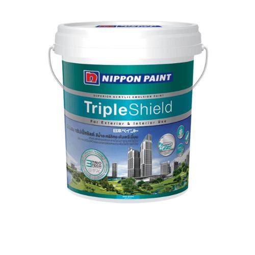 NIPPON สีน้ำทาภายนอก  เหลือบเงา เบส C ถัง Triple Shield Sheen ขาว