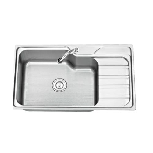TECNOGAS อ่างล้างจาน 1หลุม 1ที่พัก sink TNS 110870 SS สเตนเลส