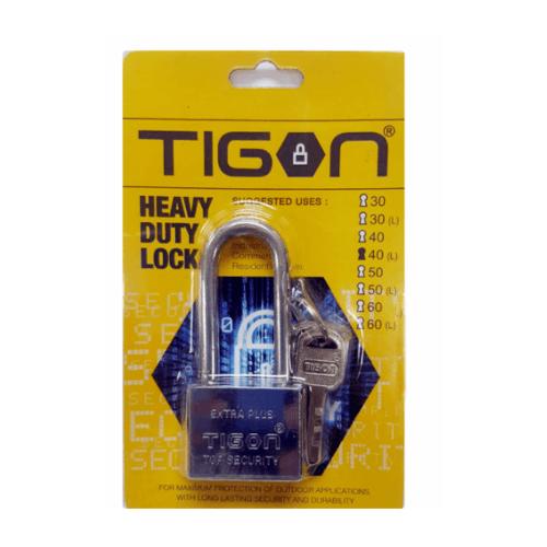 TIGON กุญแจชุบเงินคอยาว ขนาด  40 มม. -