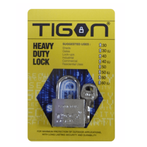 TIGON กุญแจชุบเงิน ขนาด 60 มม.คอสั้น -