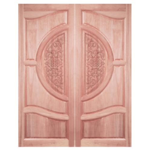 BEST ประตูไม้สยาแดง บานทึบลูกฟักแกะลาย  80x230cm.  GC-07