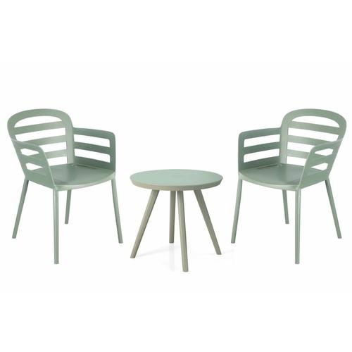 Summer Set ชุดโต๊ะพลาสติก ขนาด 50.5x50.5x45.5ซม. (โต๊ะ 1 ตัว+เก้าอี้ 2 ตัว) HXC-873-2 สีเขียวอ่อน