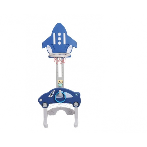 NINO WORLD ชุดแป้นบาสเด็ก 5 in 1 ทรงจรวด ขนาด 52x50x90-155 ซม.  BLLQJ-001 สีน้ำเงิน/เทา
