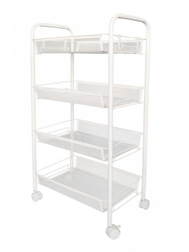 SANE ชั้นวางของอเนกประสงค์ในครัวพร้อมล้อ 4 ชั้น ขนาด 44x26x84 ซม.  FIBBA สีขาว